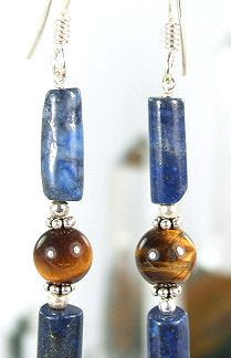 Blue Brown Lapis Lazuli Tiger Eye Beaded Earrings 26 Inches