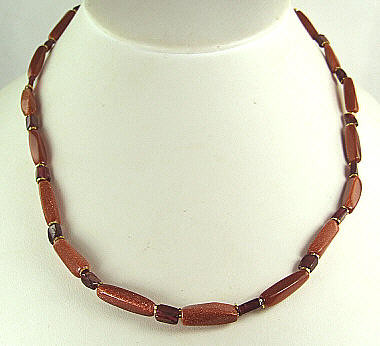 GOLDSTONE BEADED BROWN,RED SIMPLE-STRAND NECKLACES