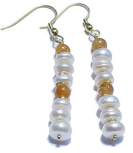 White Yellow Pearl Citrine Beaded Earrings 26 Inches