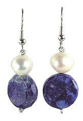 Blue White Lapis Lazuli Pearl Beaded Chunky Earrings 22 Inches