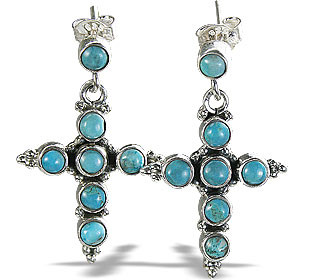 Blue Turquoise Silver Setting Christian Earrings 1 Inches