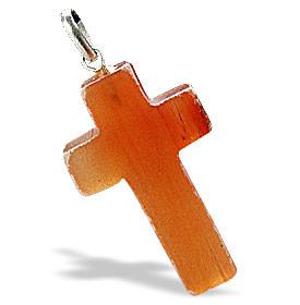 Red Aventurine Beaded Christian Cross Pendants 36 Inches