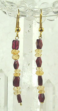 Red Yellow Garnet Citrine Beaded Earrings 36 Inches