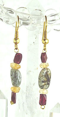 Red Yellow Multi-color Rotile Garnet Beaded Drop Earrings 26 Inches