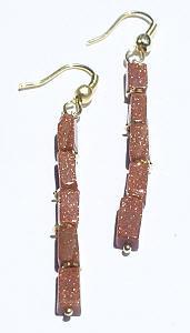 Brown Goldstone Beaded Earrings 36 Inches