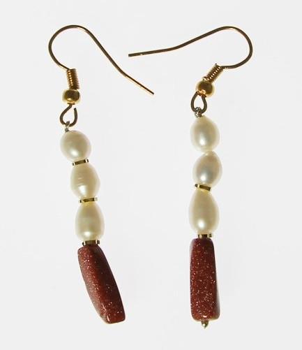 Brown White Pearl Goldstone Beaded Drop Earrings 36 Inches