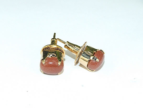 Brown Goldstone Gold Polish Post Earrings 15 Inches