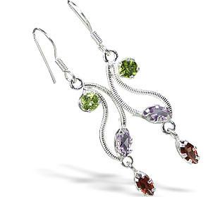 Green Purple Red Multi-stone Peridot Silver Setting Drop Earrings 1.5 Inches