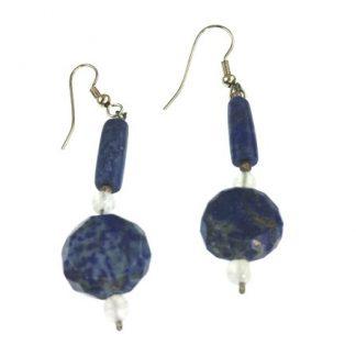 Blue Lapis Lazuli Moonstone Beaded Earrings 26 Inches