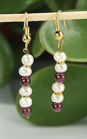 Red White Pearl Garnet Beaded Earrings 26 Inches