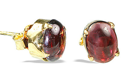 Red Garnet Silver Setting Post Earrings 0.75 Inches