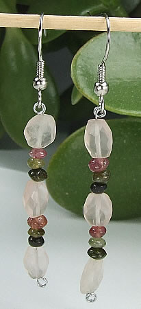 Pink Rose Quartz Tourmaline Beaded Earrings 36 Inches