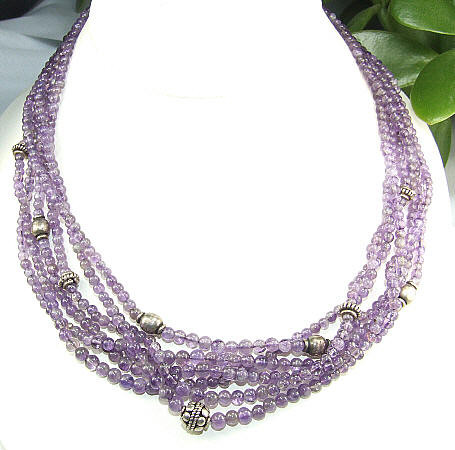 Purple Amethyst Beaded Multistrand Necklaces 425 Inches