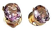 Purple Amethyst Vermeil Silver Setting Post Earrings
