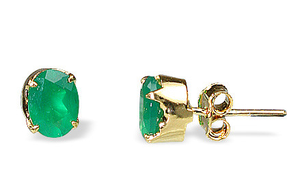 Green Onyx Vermeil Gold Plated Post Earrings 9 Inches