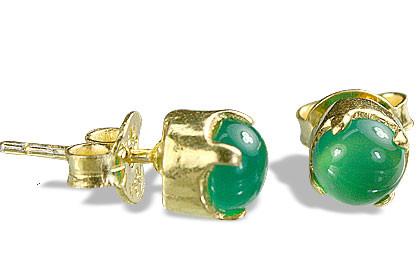 Green Onyx Silver Setting Post Earrings