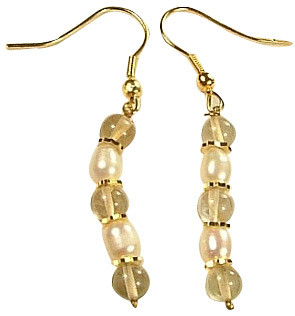 Yellow Citrine Pearl Beaded Earrings