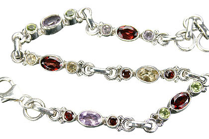 Faceted Garnet, Peridot, Amethyst And Citrine Bracelet