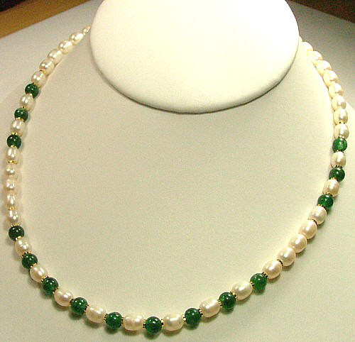 Green White Aventurine Pearl Beaded Necklaces 17 Inches