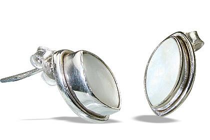 White Pearl Silver Setting Post Earrings
