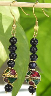 Blue Multi-color Sunstone Beaded Earrings 26 Inches