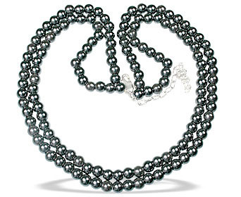 Black Hematite Beaded Multistrand Necklaces 16.5 Inches