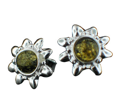Green Amber Silver Setting Post Star Stud Earrings 0.5 Inches