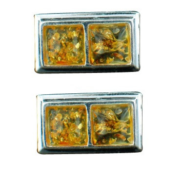 Yellow Amber Silver Setting Post Earrings 16 Inches