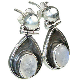 White Moonstone Silver Setting Post Earrings 1.5 Inches