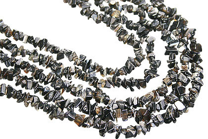 Black Onyx Beaded Chipped Necklaces 18 Inches