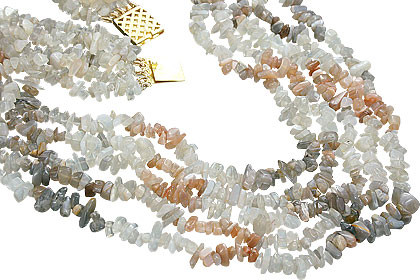 Multi-color Moonstone Beaded Chipped Necklaces 18 Inches