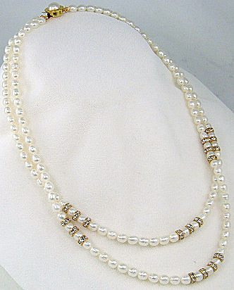 White Pearl Cubic Zirconia Beaded Multistrand Necklaces 420 Inches