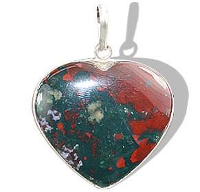 Bloodstone Heart Pendant With Silver Bezel