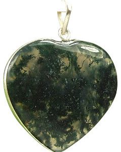 Green Moss Agate Silver Setting Heart Pendants 1 Inches