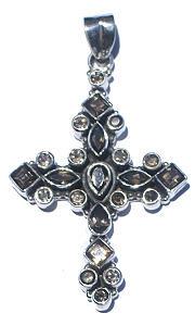Brown Gray Smoky Quartz Silver Setting Cross Pendants 50 Inches