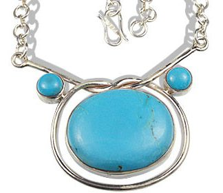 Blue Turquoise Silver Setting Necklaces 17 Inches