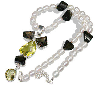 Gray White Pearl Smoky Quartz Beaded Drop Necklaces 16 Inches