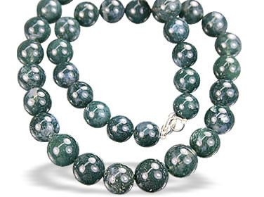 Green Moss Agate Beaded Necklaces 17 Inches