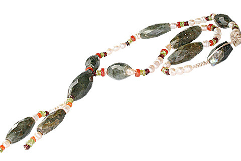 Green White Yellow Labradorite Pearl Beaded Necklaces 24 Inches
