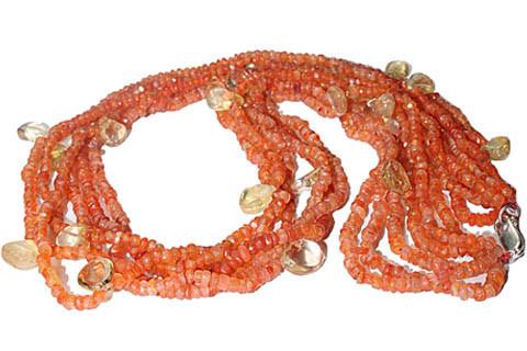 Multi-color Multi-stone Beaded Drop Necklaces 24 Inches