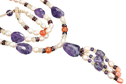 Purple Amethyst Pearl Beaded Necklaces 24 Inches