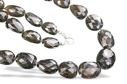 Brown Smoky Quartz Beaded Tumbled Necklaces 28 Inches