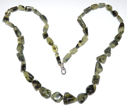 Prehnite Tumbled Nuggets Knotted Neklace