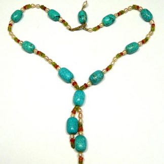 Blue Green White Turquoise Multi-stone Beaded Necklaces 24 Inches
