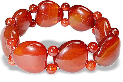 Red Chalcedony Stretch Heart Bracelet