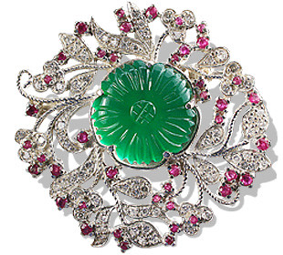 Green Onyx Flower Brooch With Rubies And Cz