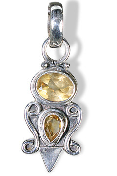 Yellow Citrine Silver Setting Ethnic Pendants 1 Inches