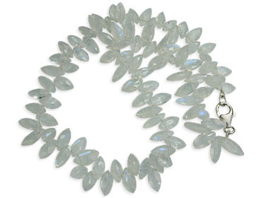 White Moonstone Beaded Staff-picks Necklaces 17 Inches
