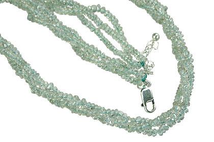 Blue Aquamarine Beaded Multistrand Necklaces 16 Inches
