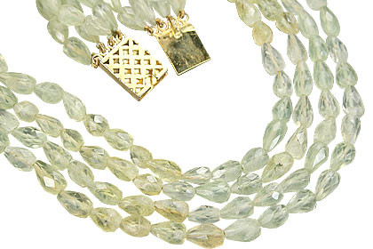 Green Prehnite Beaded Drop Necklaces 26 Inches
